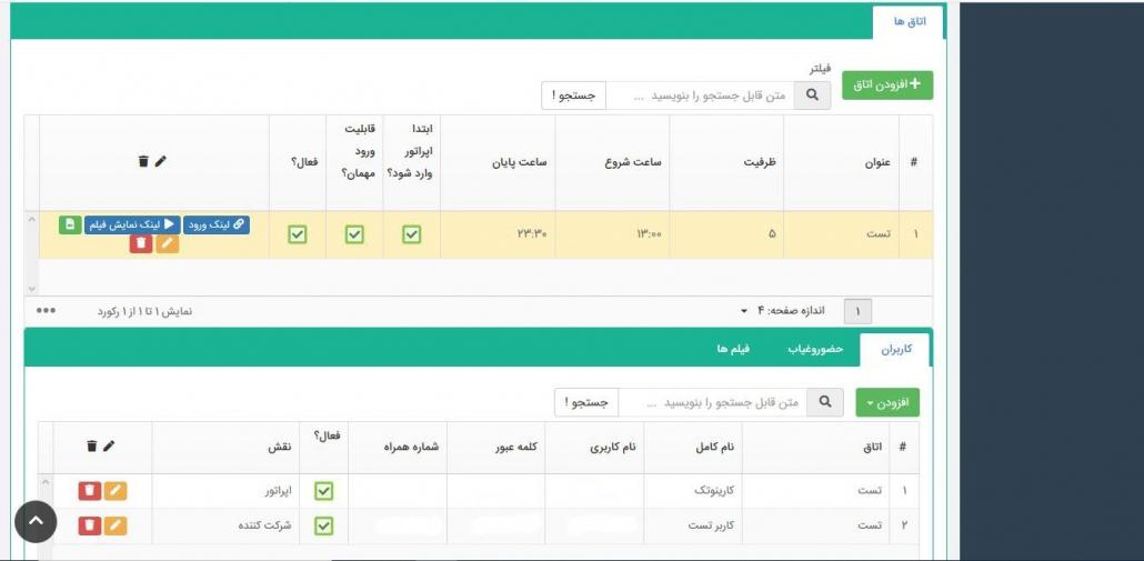 صفحه مدیریت اتاق و کاربران